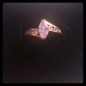 cubic zirconia gold plated ring